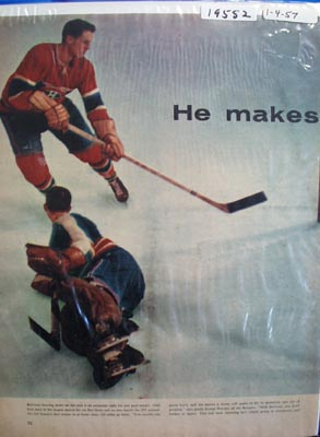 Color photo ad of Montreal Canadiens great Jean Beliveau.