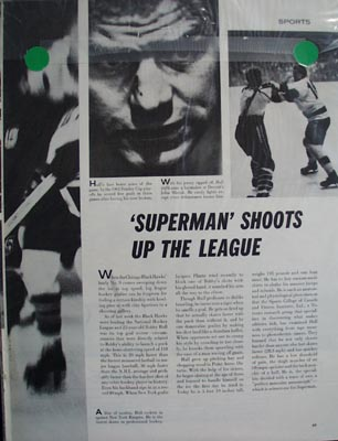 Black and white photo ad of Chicago Black Hawks great Bobby Hull