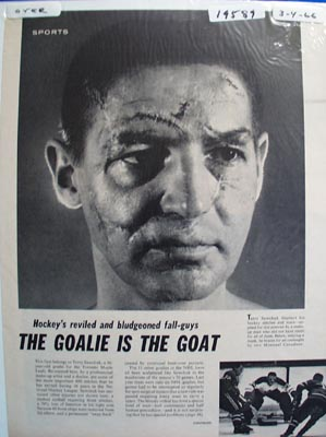 Black and white photo ad of Toronto Maple Leafs great goalie Terry Sawchuck