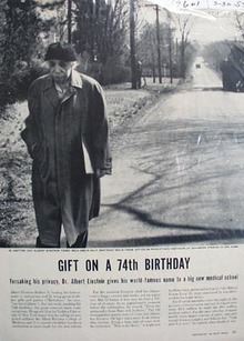 Dr. Albert Einstein 74th birthday giveaway photo Ad 1953.