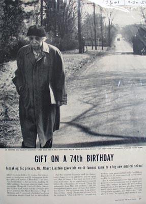 Dr. Albert Einstein 74th birthday giveaway photo Ad 1953.
