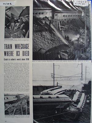 Pennsylvania railroad train jumps tracks in Woodbridge, N. J. killing 83