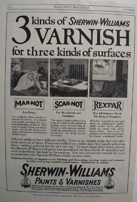 Sherwin-Williams varnish Ad 1914.