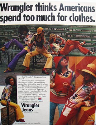 Wrangler saving Americans money on clothing Ad 1972.