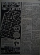 Fruit of the loom Americans finest shirts Ad 1955.