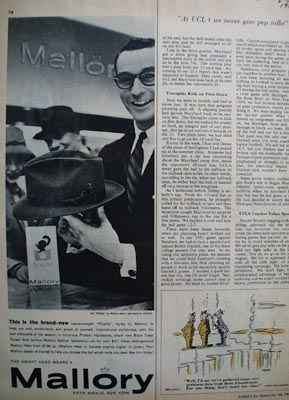 Mallory the smart mans hat Ad 1955.