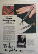 Parker duofold pens do everything Ad 1929.