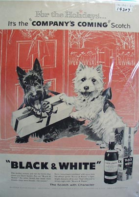 Black and White scotch for the holidays Ad 1960