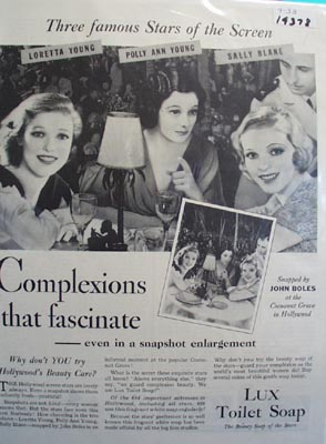 Lux soap Hollywoods beauty care Ad 1933.
