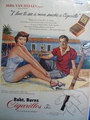 Robt. Burns cigarillos Frances Heflin Ad 1951.