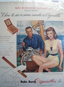 Robt. Burns cigarillos Lauren Bell Ad 1951.