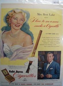 Robt. Burns cigarillos Bert Lahr Ad 1951