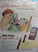 Robt. Burns Cigarillos men what women love Ad 1952.