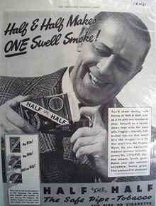 Half and Half tobacco for pipe or cigarette Ad 1937