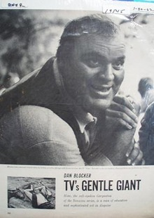 Black and white Dan Blocker TVs gentle giant Ad 1962.