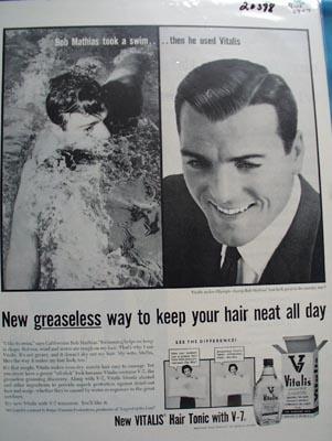 Vitalis Hair Tonic Bob Mathias Ad 1957
