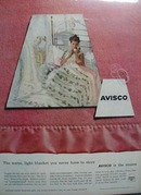 Avisco Blankets Warm & Light Ad 1956