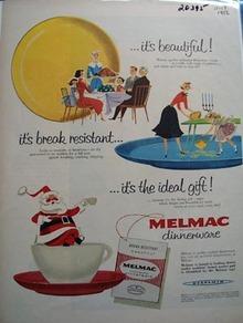 Melmac Dinnerware Christmas Ad 1956