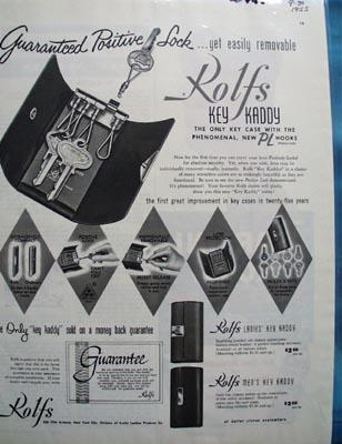 Rolf's Key Kaddy Positive Lock Ad 1955