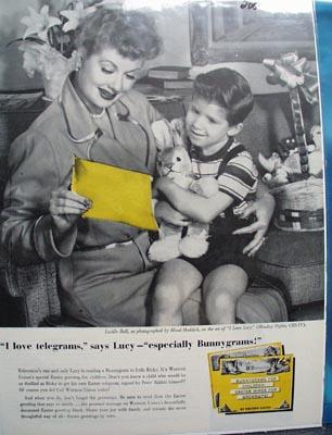 Lucille Ball & Bunnygrams Ad 1954