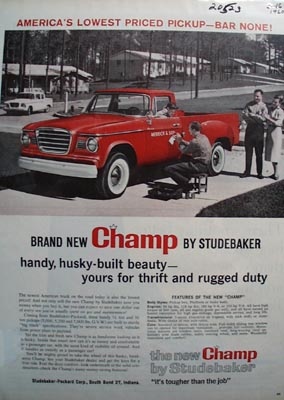 Studebaker Champ America's Lowest Price Ad 1960