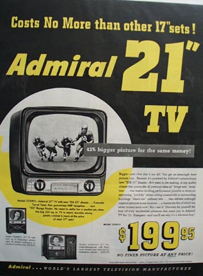 Admiral TV's Cost No More Ad 1952