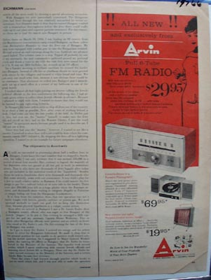 Arvin Radio Phonograph & Heater Ad 1960