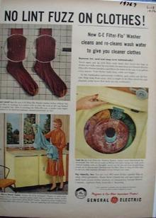 General Electric Washing Machine No Fuzz Ad 1956