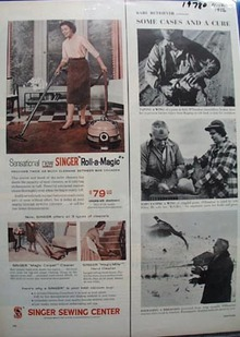 Singer Roll-Magic Sweeper Ad 1956