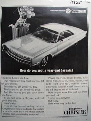 Chrysler Spot A Year End Bargain Ad 1966