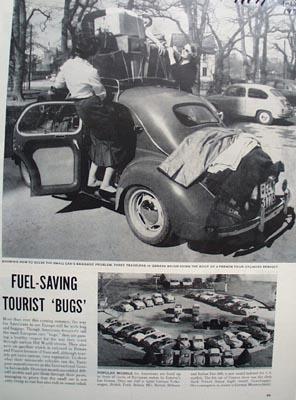 Volkswagen Fuel Saving Tourist Bugs Ad 1957