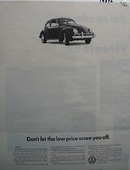 Volkswagen Don't Let Low Price Scare You Ad 1966