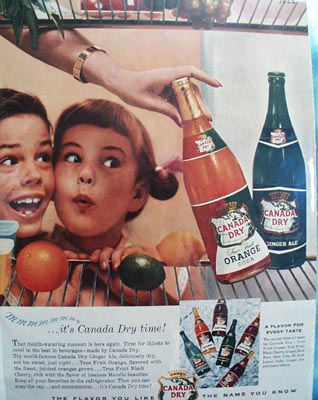 Canada Dry It's Canada Dry Time Ad 1955