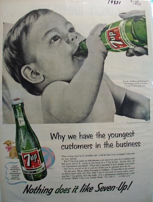 Seven Up Youngest Customers Ad 1955