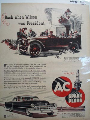 AC Spark Plugs When Wilson Was President Ad 1952