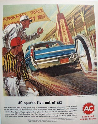 AC Spark Plugs Spark Five Out Of Six Ad 1963