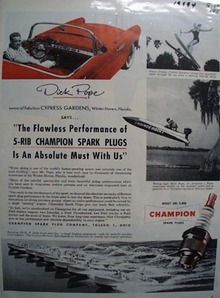 Champion Spark Plugs Dick Pope Ad 1955