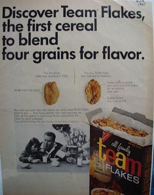 Team Flakes Four Grains for Flavor Ad 1965