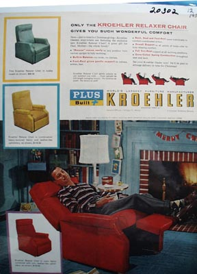 Kroehler Chairs Christmas Ad 1956
