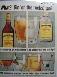 Fleischmann Whiskey  & Gin Ad 1957