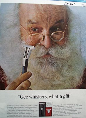 Gillette Razor and Santa Ad 1967