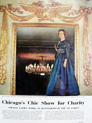 Color photo of Mrs. Marshall Fields article 1960