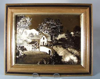 Currier & Ives Foil Framed Print.