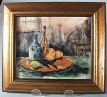 Kitchen Scene framed print showing fruit and bottles.