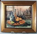 Kitchen Scene framed print showing fruit and bottles.