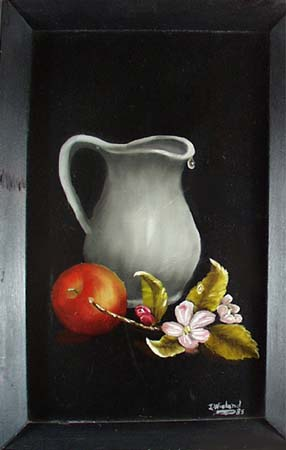 Painting showing Pitcher, apple and apple blossom.