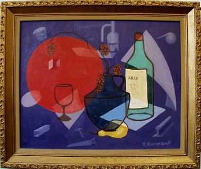 Abstract Painting of Wine and various objects