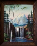 Birch Trees and Waterfall painting.