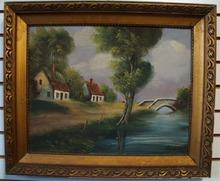 Dutch painting landscape, 1920 era. Signed Van Gauck