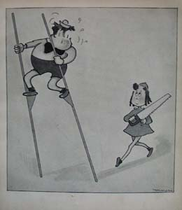 Little Lulu 1937 bookplate comic saws Tubbys stilts.